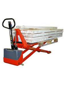 electric high lift pallet truck with long forks